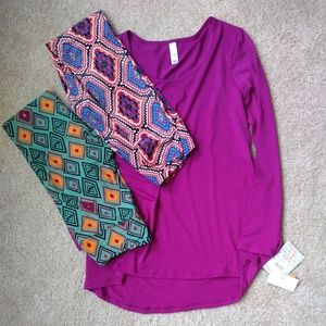 Lularoe Outfit-XS purple lynnea 2 sets OS leggings